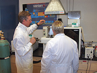 Dr. Mark Walker testing samples at his lab on UNR's campus
