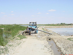 Irrigation being drawn from Amu Darya River