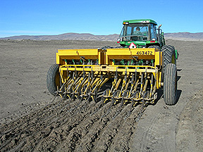 Seed drill used commonly by ranchers to restore rangelands