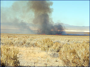 Fire on the Gund ranch, located in central Nevada