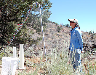 Graduate student Sarah Noelle studies erosion factors influencing the hydrology of PJ dominated landscape