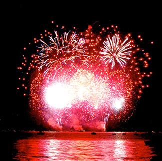 Lake Tahoe's South Shore 4th of July fireworks display grand finale.
