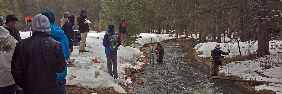 Adrian Harpold has hydrology students help collect data in the Sierra high country