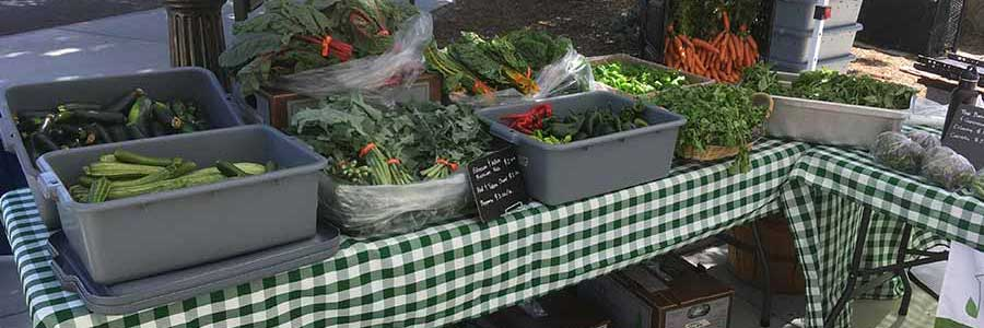 Farmers market stand with fresh fruits and vegetables