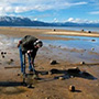 Sampling sediment at lake tahoe