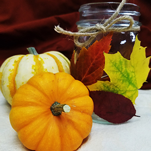 pumpkins and canning jar