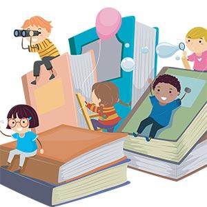 cartoon of kids reading