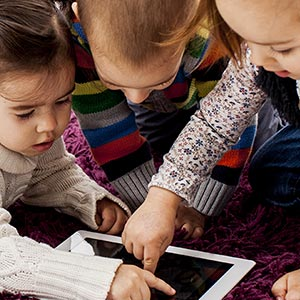 toddlers with tablet