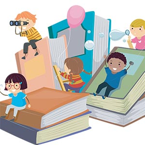 cartoon of kids and books