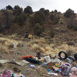 dumping trash in carson foothills