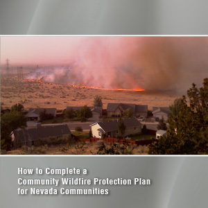 A wildfire burns brush near a cluster of homes with text: How to Complete a Community Wildfire Protection Plan for Nevada Communities
