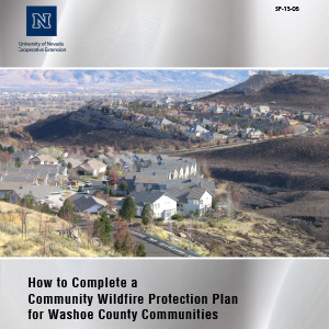 A cluster of homes in Washoe County adjacent to the urban interface with text: How to Complete a Community Wildfire Protection Plan for Washoe County Communities