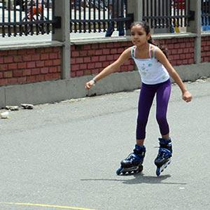 rollerblading in park