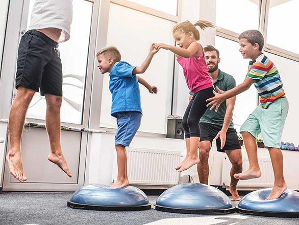 children exercising