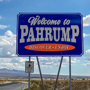 Welcome to Pahrump road sign