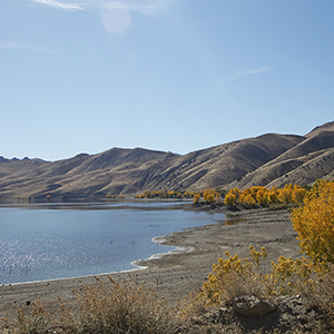 Topaz Lake with fall colors on the shoreline