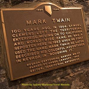 Mark Twain plaque in Virginia City, NV