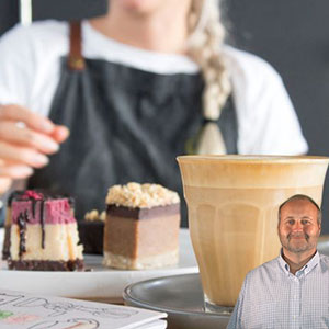Bakery serving 2 pieces of cake and coffee with Mike Bindrup