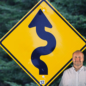 Road sign with Mike Bindrup