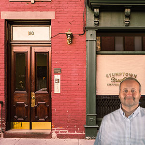 Store front with Mike Bindrup