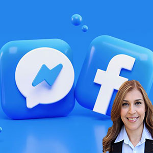 Facebook and Instagram logos with Reyna Mendez