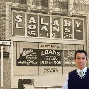 Old timey sign about salary loans with Juan Salas