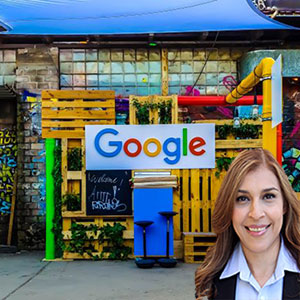 Business with a Google sign with Reyna Mendez