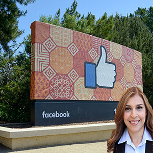 Facebook like sign with Reyna Mendez