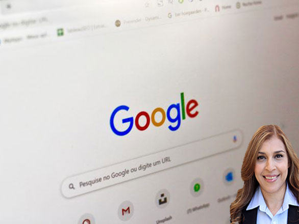 Google page on a computer with Reyna Mendez