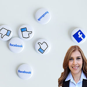 Facebook buttons and like hands with Reyna Mendez
