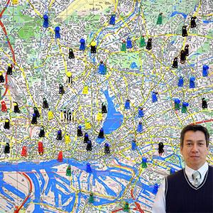 City map with Juan Salas