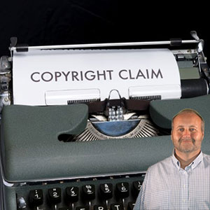 Typewriter with paper saying Copyright Claims with Mike Bindrup