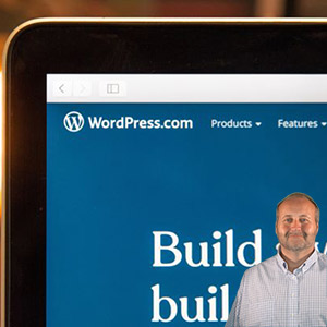 Wordpress app on a phone and Mike Bindrup