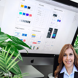 Computer screen with designs and Reyna Mendez