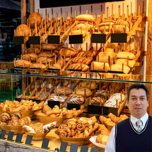 Bakery shelves with baked goods with Juan Salas