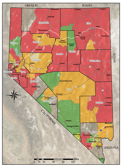Color coated map of Nevada showing radon potential by county