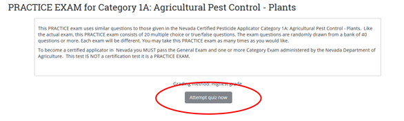graphic of extension online campus website and the button you need to click on to attemp the practice test