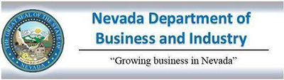 """Nevada Department of Business and Industry logo with """"Growing business in Nevada"""" in quotes."""
