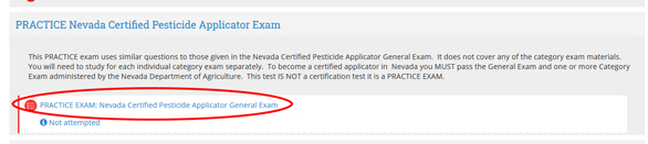 graphic of the extension online campus website illustrating how to navigate to the pesticide applicator practice exam