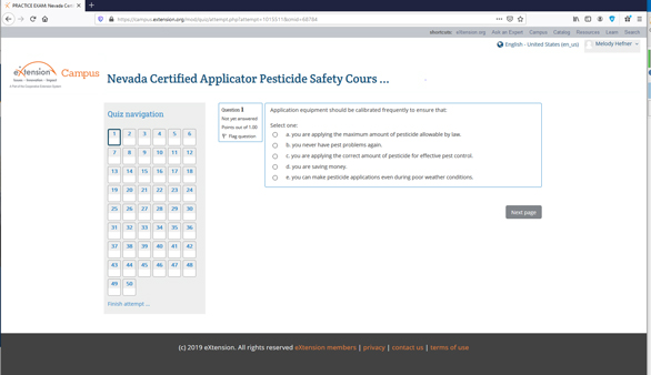 graphic of the Nevada certified applicator pesticide safety course quiz navigation page