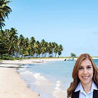 Beach scene with Reyna Mendez