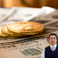 Gold coins and dollar bills with Juan Salas