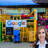 Business with large Google sign and Reyna Mendez