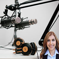 Podcast microphones and headphones with Reyna Mendez