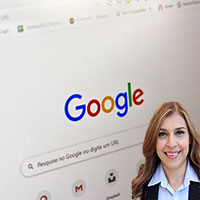 Google Screen on Computer and Reyna Mendez
