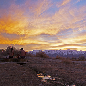 Beautiful sunset at Spencer Hot Springs, NV