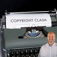 """Typewriter with """"Copyright Claim"""" on paper with Mike Bindrup"""