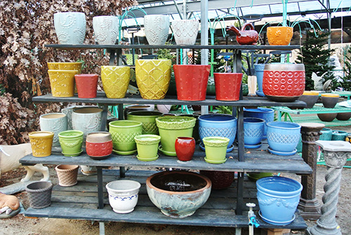 colorful containers and pots