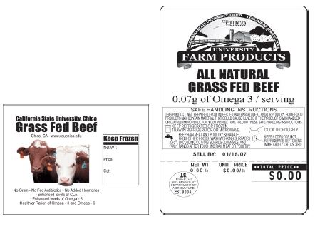 grass fed beef label