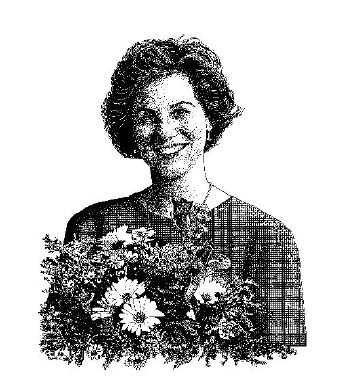 Lady smiling with flowers